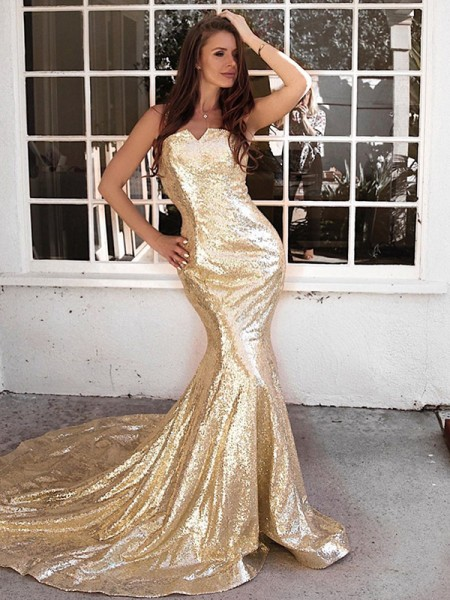Trumpet/Mermaid Ruffles Sleeveless Sequins Sweep/Brush Train Straps Dresses