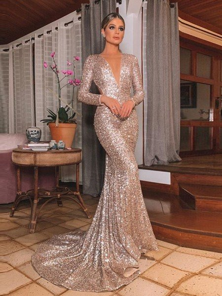 Trumpet/Mermaid Sequins Long Sleeves V-neck Sweep/Brush Train Ruffles Dresses