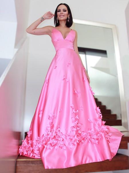 A-Line/Princess V-neck Hand-Made Flower Satin Sleeveless Sweep/Brush Train Dresses