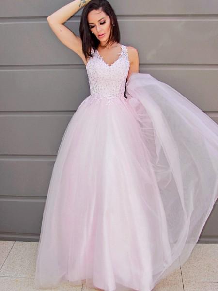 A-Line/Princess V-neck Sleeveless Applique Tulle Floor-Length Dresses