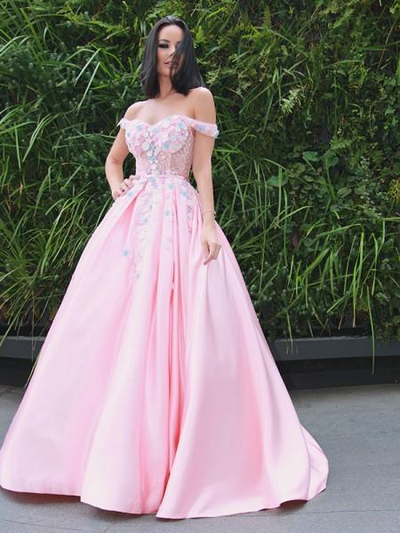 A-Line/Princess Satin Applique Off-the-Shoulder Sleeveless Sweep/Brush Train Dresses