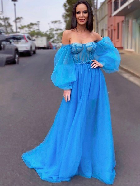 A-Line/Princess Tulle Beading Off-the-Shoulder Long Sleeves Sweep/Brush Train Dresses
