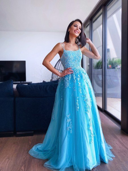 A-Line/Princess Spaghetti Straps Tulle Sleeveless Applique Sweep/Brush Train Dresses