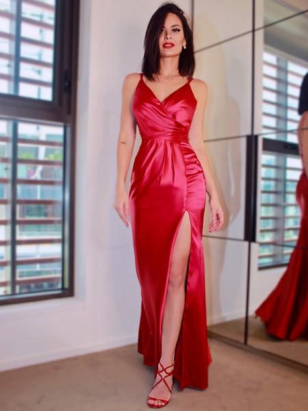 Sheath/Column Satin Sleeveless V-neck Ruched Floor-Length Dresses