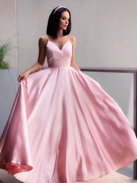 A-Line/Princess V-neck Satin Ruched Sleeveless Floor-Length Dresses