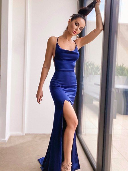 Sheath/Column Silk like Satin Ruched Sleeveless Halter Sweep/Brush Train Dresses