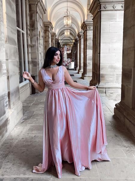 A-Line/Princess Sleeveless V-neck Satin Ruffles Sweep/Brush Train Dresses