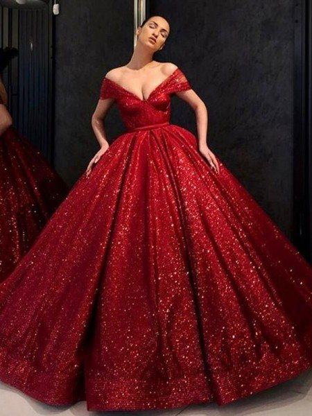 Ball Gown Sequins Ruffles Off-the-Shoulder Sleeveless Floor-Length Dresses
