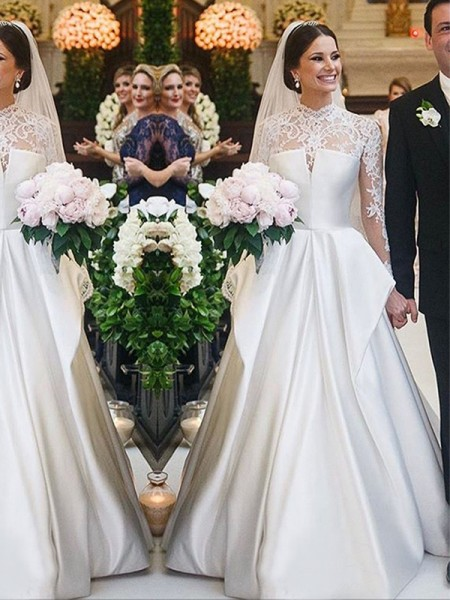 A-Line/Princess Lace Satin High Neck Long Sleeves Floor-Length Wedding Dresses