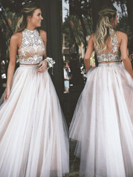 A-Line/Princess Sleeveless High Neck Tulle Beading Floor-Length Dresses