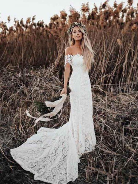 Trumpet/Mermaid Lace Applique Off-the-Shoulder Short Sleeves Court Train Wedding Dresses
