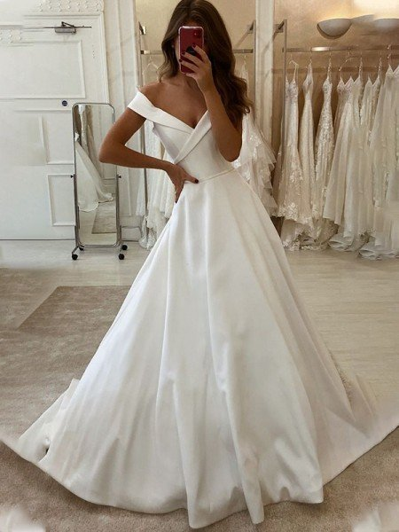 A-Line/Princess Satin Ruffles Off-the-Shoulder Sleeveless Sweep/Brush Train Wedding Dresses
