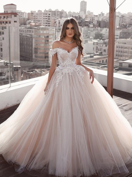 Ball Gown Tulle Off-the-Shoulder Sleeveless Applique Sweep/Brush Train Wedding Dresses