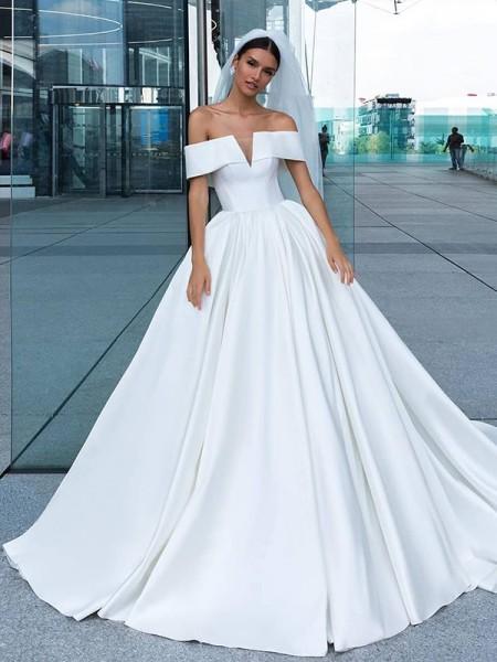 Ball Gown Satin Ruffles Off-the-Shoulder Sleeveless Court Train Wedding Dresses