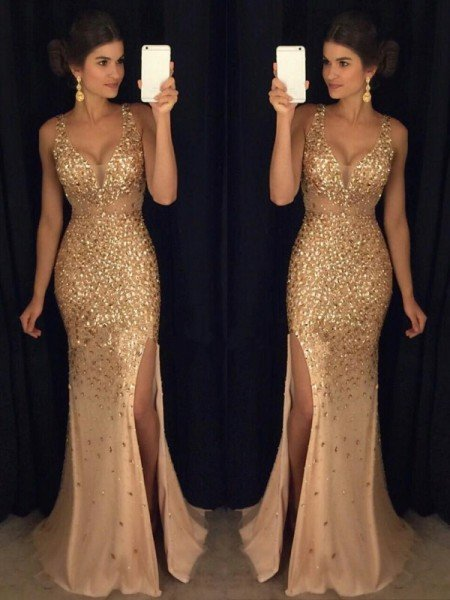 0290e406316 Sheath Column V-neck Sequin Sweep Brush Train Sleeveless Jersey Dresses