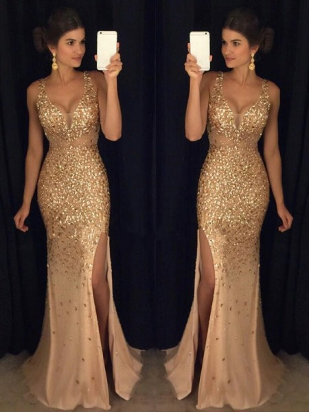 5aab521ac6 Sheath Column V-neck Sequin Sweep Brush Train Sleeveless Jersey Dresses