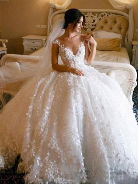 Ball Gown V-neck Tulle Sleeveless Floor-Length Applique Wedding Dresses
