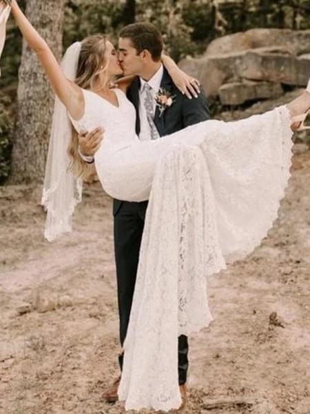 Sheath/Column Ruffles Sweep/Brush Train Sleeveless Straps Lace Wedding Dresses