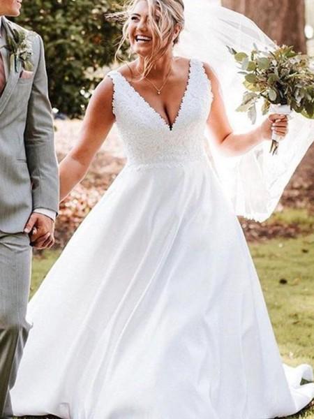 A-Line/Princess Sweep/Brush Train Satin Applique Sleeveless V-neck Wedding Dresses