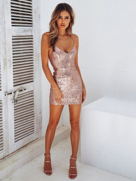 Sheath/Column Sequins Spaghetti Straps Sleeveless Short/Mini Homecoming Dresses