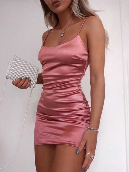 Sheath/Column Sleeveless Spaghetti Straps Satin Ruched Short/Mini Homecoming Dresses