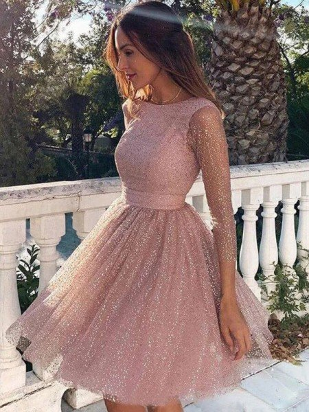 A-Line/Princess Ruffles 3/4 Sleeves Scoop Short/Mini Homecoming Dresses