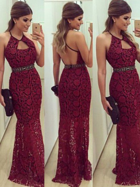 Sheath/Column Sleeveless Beading Floor-Length Halter Lace Dresses