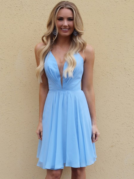 A-Line/Princess Chiffon Straps Sleeveless Ruffles Knee-Length Homecoming Dresses