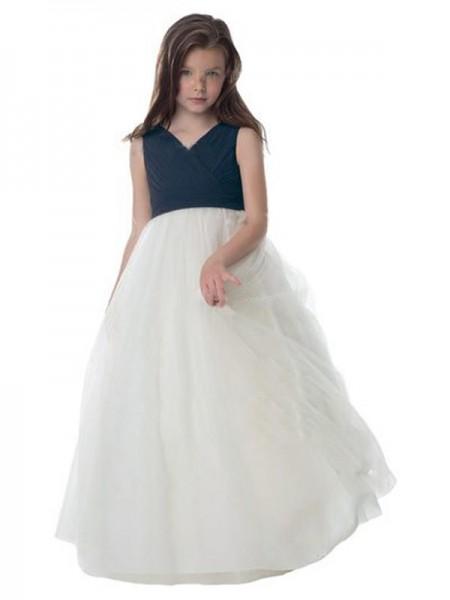A-Line/Princess Tulle Ruched V-neck Sleeveless Floor-Length Flower Girl Dresses