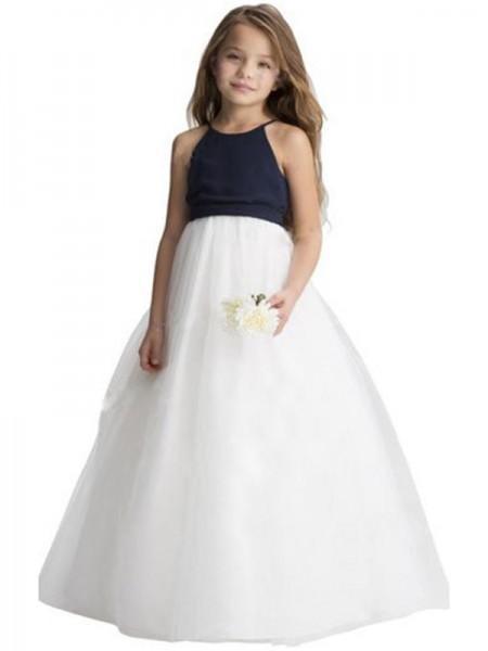 A-Line/Princess Tulle Sash/Ribbon/Belt Scoop Sleeveless Floor-Length Flower Girl Dresses