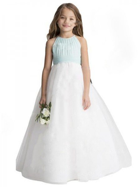 A-Line/Princess Sleeveless Scoop Ruffles Tulle Floor-Length Flower Girl Dresses