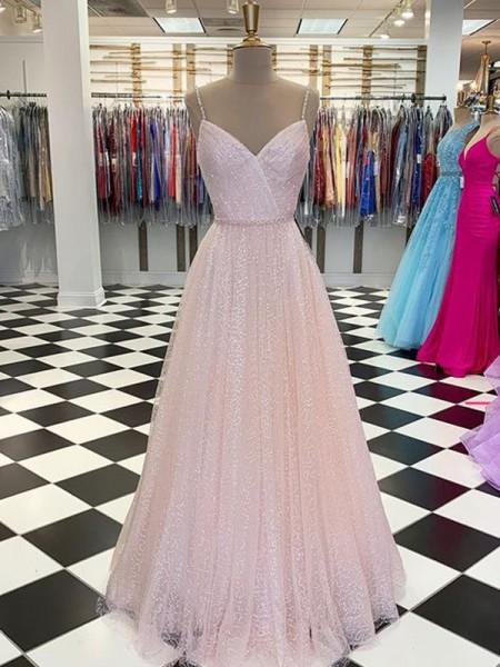 A-Line/Princess Floor-Length Spaghetti Straps Sleeveless Tulle Ruffles Dresses