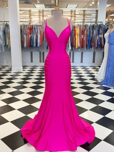 Trumpet/Mermaid Sweep/Brush Train V-neck Sleeveless Satin Ruched Dresses