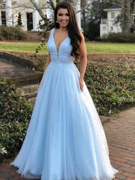 A-Line/Princess Floor-Length V-neck Sleeveless Tulle Beading Dresses