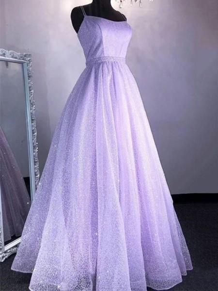 A-Line/Princess Tulle Spaghetti Straps Ruffles Sleeveless Floor-Length Dresses