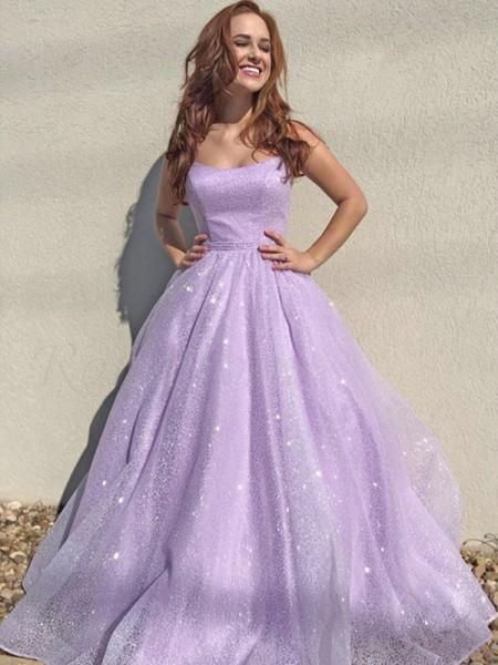 A-Line/Princess Square Tulle Sleeveless Ruffles Floor-Length Dresses