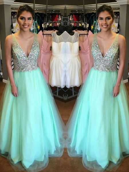 A-Line/Princess V-Neck Sleeveless Floor-Length Tulle Beading Dresses