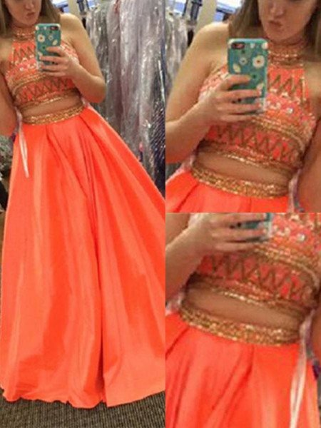 A-Line/Princess Sleeveless High Neck Satin Beading Floor-Length Two Piece Dresses