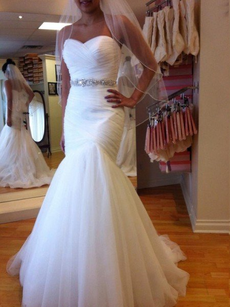 Trumpet/Mermaid Sleeveless Sweetheart Floor-Length Beading Tulle Wedding Dresses