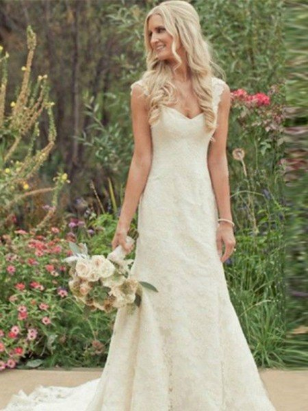 Trumpet/Mermaid Sleeveless Sweep/Brush Train V-neck Lace Wedding Dresses
