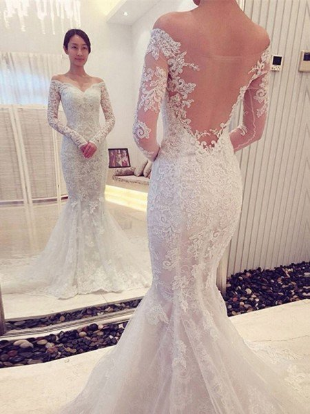 004deda6af0 Trumpet Mermaid Off-the-Shoulder Long Sleeves Lace Chapel Train Wedding  Dresses