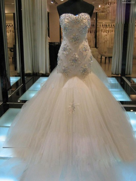 1aaefdd5263 Trumpet Mermaid Sleeveless Sweetheart Chapel Train Beading Tulle Wedding  Dresses