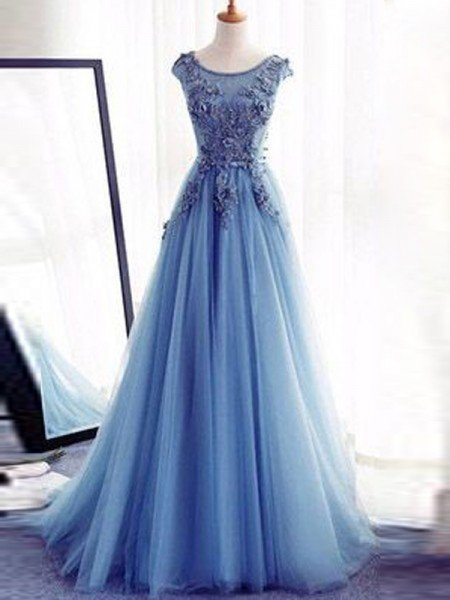 Ball Gown Sleeveless Jewel Floor-Length Applique Tulle Dresses