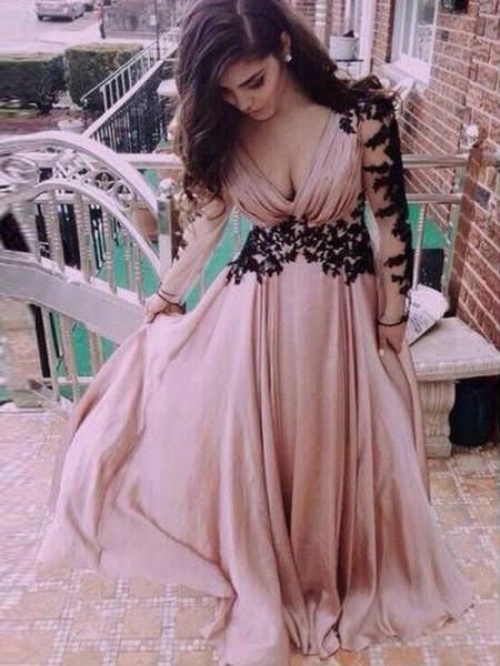 A-Line/Princess Long Sleeves V-neck Chiffon Applique Floor-Length Dresses