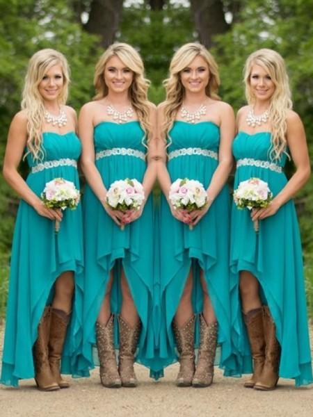 750b4395b A-Line/Princess Sweetheart Sleeveless Asymmetrical Beading Chiffon  Bridesmaid Dresses