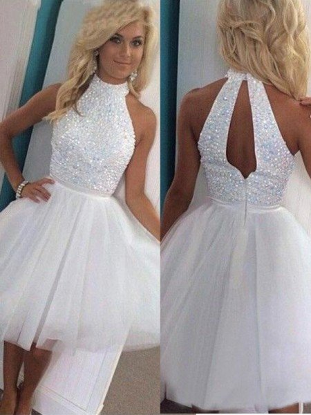 1ab7f72168 A-Line Princess Sleeveless Halter Beading Tulle Short Mini Dresses