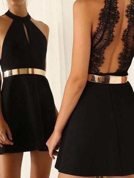 A-Line/Princess Sleeveless Halter Lace Jersey Short/Mini Dresses