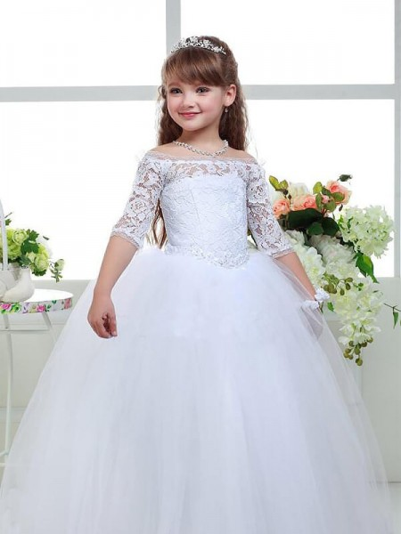 Flower girl dresses 2018 cheap flower girl dresses for wedding ball gown off the shoulder 12 sleeves lace floor length tulle mightylinksfo