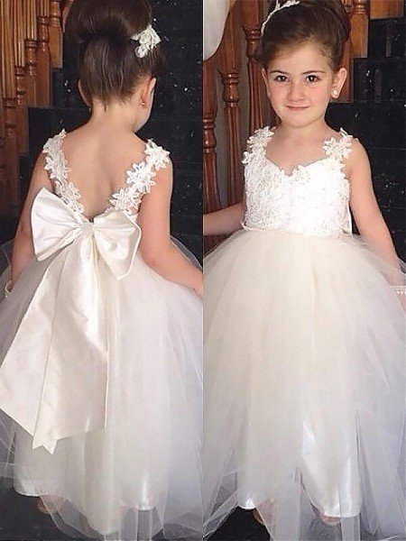 Ball Gown Sweetheart Sleeveless Bowknot Floor-Length Tulle Flower Girl  Dresses b83dbe685178