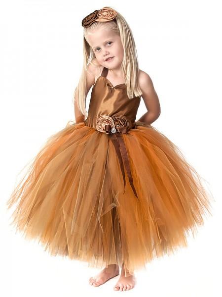 Ball Gown Straps Sleeveless Hand-Made Flower Tea-Length Tulle Flower Girl Dresses